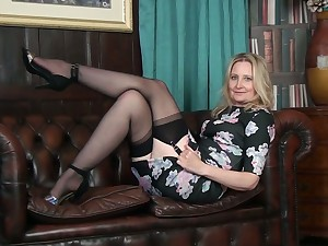 Hawkshaw increased by quite leggy cougar Emma Turner undresses to pet her undress pussy