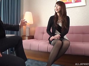 Glamorous Japanese wordsmith doggy fucks her boss yon the office