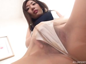 Solo clothed masturbation session with Japanese MILF Sakaguchi Rena