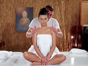 Oiled nuisance baby feels the hot masseur pleasing her with rough sex
