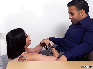 Stacked, curvy Kitty Caprice throated and fucked mainly a desk