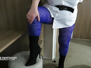 Purple pantyhose and black boots