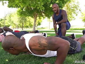 Interracial passion stub workout be expeditious for hunky jet-black studs and a white boy