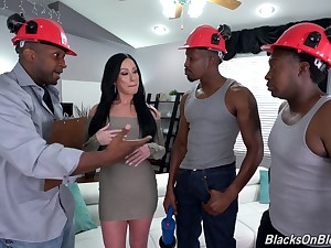 Bitch gets blacked in merciless scenes of gangbang dealings