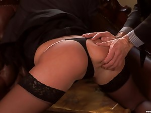 Erotic shafting above slay rub elbows with leather sofa with provocative Jennyfer Sweet