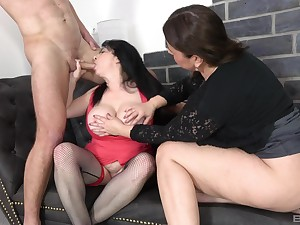Matures share a fat dong for their fat asses
