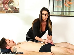 Nerdy long haired masseuse Dava Violently is finally fucked missionary
