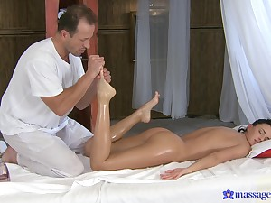 Impenetrable depths erotic massage leads to sex, and the chick loves it