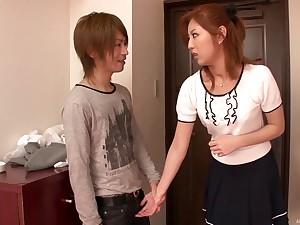 Cute Asian girlfriend Kazuki Asou drops on her knees to suck a dick