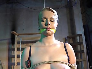 Submissive blonde accepts any type of rough treatment from her master