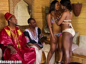 Hot African women give a nuru massage plus get their pussies fucked