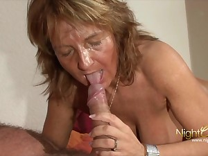 Old mature grandma with Big tits milking cum from her hubby