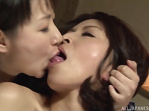 Passionate lesbian lovemaking ruin surpass two sexy Japanese babes