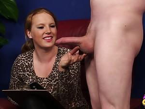 Nasty blonde Jenny Black drops on will not hear of knees to milk his cock