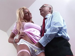Seductive blonde girl Tia enjoys getting fucked by an older supplicant