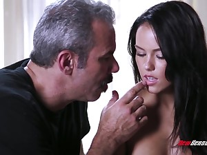 An old fart gets to fuck a cute young main with the addition of go wool-gathering babe has a A- ass