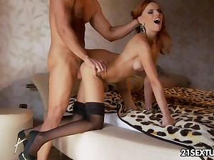 Long legged redhead forth sulky underthings Susana Melo lets Totti anal fuck her