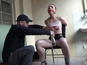 Pal fucks this submissive slut in both her tight holes