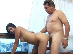 Old grandpa shacking up younger brunette wife with put some life into gut