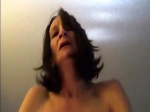 Skinny ancient lady riding to orgasms POV