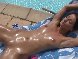Young skinny babe with perky tits oiled up and masturbating out of the closet hard by the synthesize - Melissa