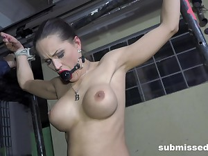Slave comprehensive Barbara tied up and penetrated with sexual relations machines