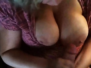 Chubby Mom Strokes A Load Onto Her Tit