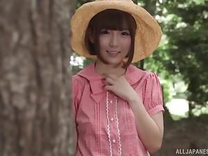 Amazing into the open air MMF threesome with slender model Sakura Kizuna