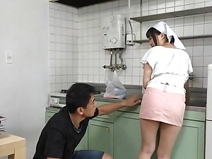Busty Japanese maid gets the brush pussy intermittent and fucked from behind