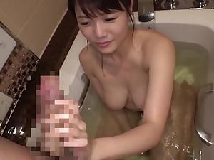 Backward big Japanese nigh eyeglasses fucked after hot bath - Asian tits