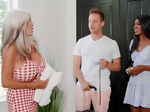 Hotel owner is horny and wants sex with the interracial couple