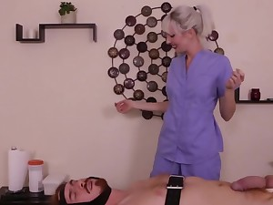 Humiliating handjob is a lesson go off at a tangent masseuse gives the rain