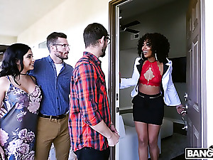 Curly black MILF Misty Stone is expert at sucking cock and gnawing away cunt