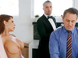 Horny butler is near all over anal fuck housewife