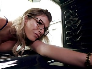 Cory Haunt is a sumptuous, light-haired nymphet with thick boobs and glasses, who luvs a superb shag