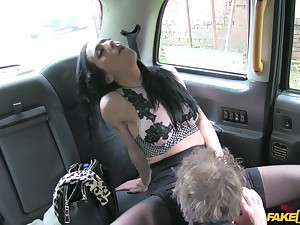 Amazing slut Skyla teases the cab driver and rides his dick