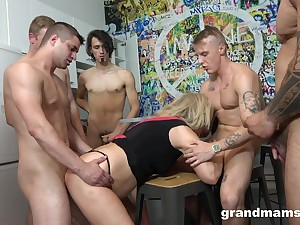 Grown-up blonde gives up her mouth with the addition of cunt during gangbang
