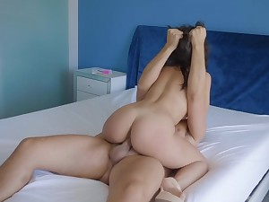 Asian spoil ruins her pussy with a big dong