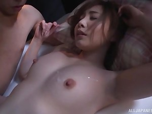 Cute Japanese babe Rui Hasegawa rides bushwa and gets cum on her soul