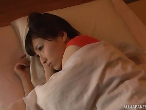 Cute Japanese wife Mitani Akari woken up with the addition of fed cum