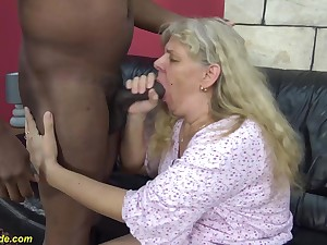chubby 74 years old granny enjoys her first rough interracial big cock fucking