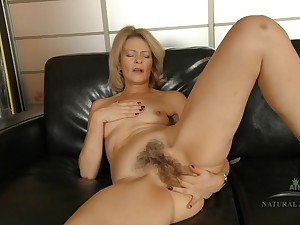 Housewife Coochie Overhead Leather Couch - blond be thick lady
