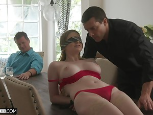 Professional fucker bangs young wifey Bunny Colby in front of the brush doyen husband
