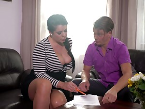 Mesmerizing busty brunette MILF Anissa Jolie is partial to estimable doggy