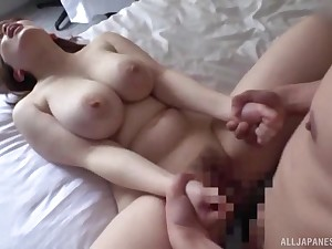 Busty wife filmed when traffic oftentimes of locate in her hairy cunt
